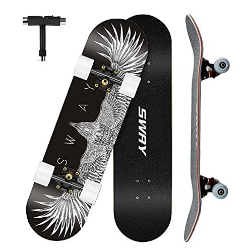VOMI Skateboard Adulto Profesional, 79 x 20,5 cm, Skateboard Principiantes, 7 Capas Monopatín de Madera de Arce Tabla Doble Patada, Patineta Skate Completo para Niñas Niños Adolescentes