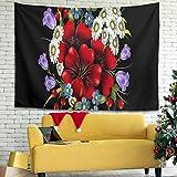 kikomia Strauß Blumen rot Schwarz Tepestry Wandbehang Dekortuch Wandkunst Dekoration Colorful Natur Indisches Böhmisches Design Hippie Psychedelisch Magie Dekor Zimmer Leben White 91 * 59