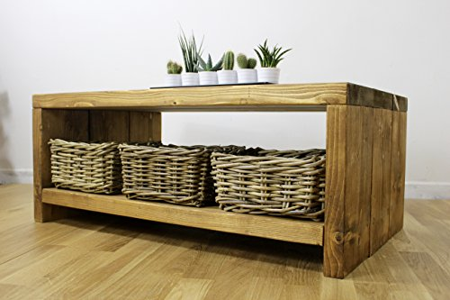 Solid Rustic Handmade Pine coffee table (Farley), finished in a Chunky Country Oak (100cm x 40cm x 40cm, Medium Oak)