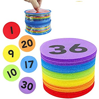 Carpet Spot Sit Markers,ForTomorrow 36 Pack 4  Classroom Sitting Carpet Spots with Numbers 1-36,Floor Rug Circles Marker Dots for Preschool,Kindergarten Elementary Te Assorted Colors 4 inch 36 Pack