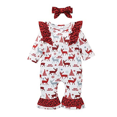 0-18 Months,SO-buts Infant Baby Girls Long Sleeve Christmas Xmas Deer Leopard Printed Ruffle Romper Jumpsuit Headbands Autumn Winter Outfits Sleepwear (Red, 9-12 Months)