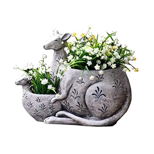 Pflanztöpfe Pflanztöpfe Im Freien Känguru Blumentopf Blumen Saftige Grünpflanzen Große Pflanzen Im Freien Garten-Skulptur (Color : Gray, Size : 34 * 45 * 18cm)