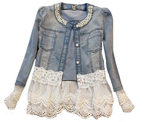 SMITHROAD Damen Denim Cotton Cute Short Jacke Denim mit Spitze Jeansjacke (Asien S/EU 32)
