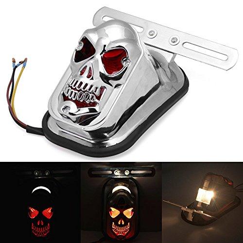 DLLL Universale Moto Skull LED Integrato Rosso Posteriore Indicatore di Girata Coda Freno Arresto Piastra Luce per Harley Honda Suzuki Kawasaki Yamaha Classic Bikes Cruiser (Argento)