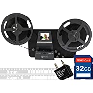 Wolverine 8mm & Super 8mm Reels to Digital MovieMaker Pro Film Digitizer, Film Scanner, 32GB SD Memory Card, Dual Voltage 100-240V Power Supply Adapter & International Two-Prong Round Pin Plug Adapter Accessories