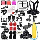 Deyard 52 en 1 Kit de Accesorios para GoPro Hero 8 Black, Funda Impermeable con 3 Filtros, Funda de Goma para Cuerpo/Cabeza/Correa de Muñeca de mochilas para el coche(No Incluye Funda de Silicona)