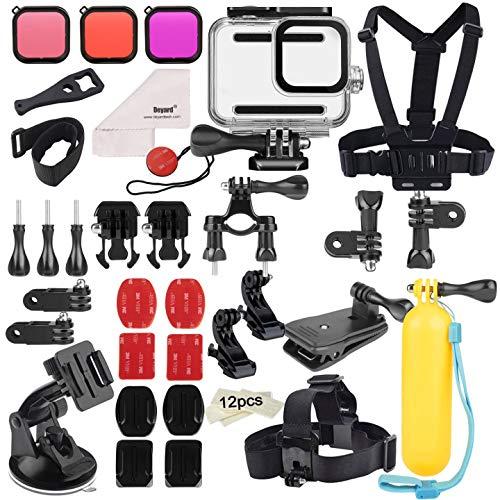 Deyard 52 in 1 Zubehörset Kompatibel mit GoPro Hero 8 Schwarz, Unterwassergehäuse 3 Filter Gummikoffer Brust- / Kopf- / Handschlaufe Fahrrad- / Autorucksackclip
