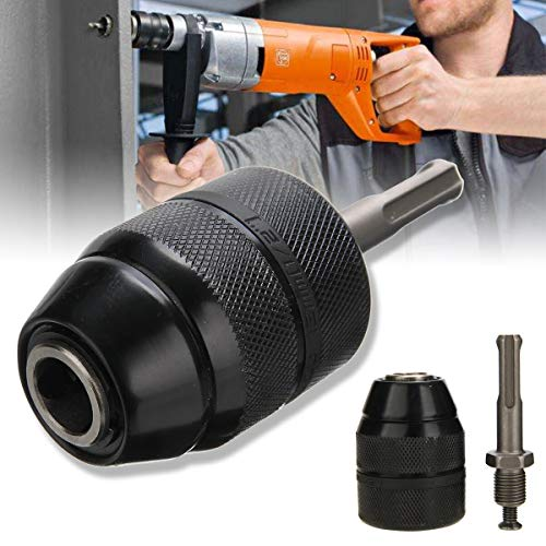 NIKOVAS 1 Piece Metal & Plastic Keyless Drill Chuck Heavy Duty 13mm 1/2-20UNF Keyless Drill Chuck With SDS Adaptor Hand Tool