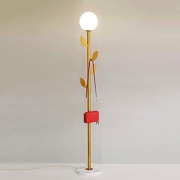 Tall Gold Coat Rack Floor Lamp, Modern Style Living Room Reading