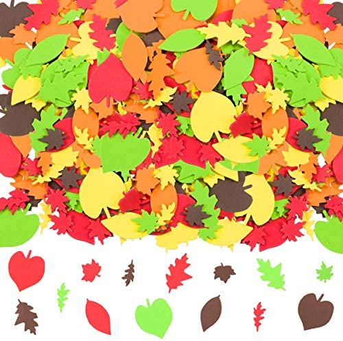 Cosweet 540 Pieces Thankgiving Foam Stickers Adhesive 3D Fall Leaf Shapes Foam Stickers Harvest product image