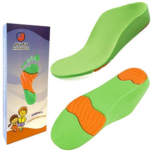 Ailaka - Solette ortopediche per scarpe per bambini, con supporto per arco plantare, per piedi piatti, fascite plantare, sollievo dal dolore al tallone