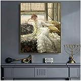 James Tissot 《Seaside》 Lienzo Pintura al óleo Póster Imagen Decoración de la pared para la sala de estar Decoración del hogar Obra de arte de regalo -24X32 pulgadas Sin marco