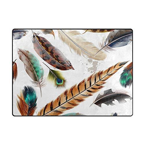 MALPLENA Animal Feather Collection Zone Tapis antidérapant Pad Moyen d'entrée Paillasson Tapis de Sol Chaussures Grattoir, Polyester, 1, 63 x 48 inch