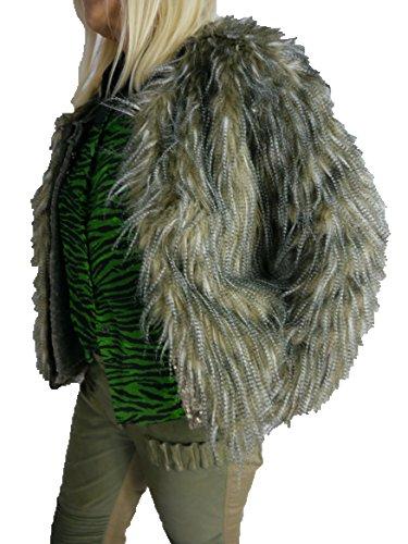 Eight2Nine Damen Fake Fur Fellimitat Jacke S S M L XL 242AEN (XL, Beige-Grau)