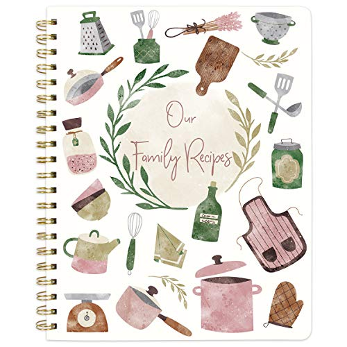 "Recipe Notebook Journal Blank Cookbook Recipe Book 8.5"" x 11"" Blank Recipe Book to Write in with Tabs Stickers for Mother's Day Gift"