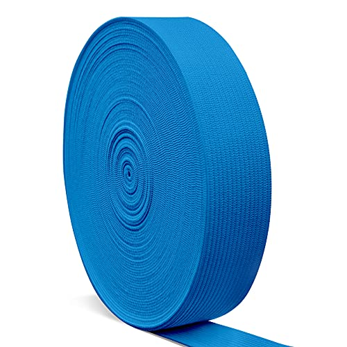 Elastic Bands for Sewing 1 Inch, Hengiee Braided Elastic for Wigs, Waistband, Skirt, Pants, Headband, Bed Sheets, Kids Clothes, Craft DIY Projects(Sky Blue,12 Yard)