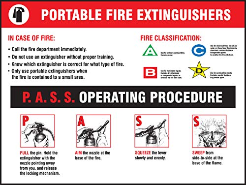 """Accuform PST412 Safety Awareness Poster,""""Portable FIRE EXTINGUISHERS - P.A.S.S. Operating Procedure"""", 18"""" Length x 24"""" Width, Laminated Flexible Plastic"""