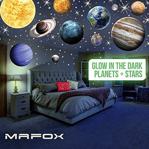 MAFOX Glow in The Dark Planets, Bright Solar System Wall Stickers -Sun Earth Mars and so on,9 Glowing Ceiling Decals for Bedroom Living Room,Shining Space Decoration for Kids for Girls and Boys
