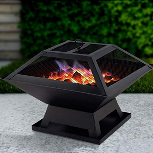 KJGHJ Portable Stainless Steel Outdoor Fire Pit Bbq Grill Heater Firepit Brazier Garden Portable Table Stove Barbecue Patio Camping Firepit