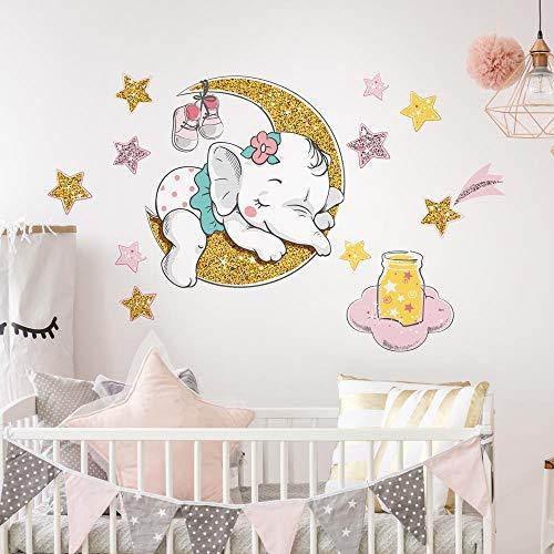 R00546 Adesivi Murali Stelle Nuvole Decorazione Muro Cameretta Bambino, Asilo Nido, Camera Letto, Carta da Parati Adesiva Effetto Tessuto