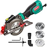"Circular Saw, HYCHIKA 6.2A Mini Circular Saw with Laser Guide, 6 Blades (4-1/2""), Max Cutting Depth 1-11/16'' (90°), 1-3/8'' (45°), Ideal for Wood, Soft Metal, Tile and Plastic Cuts"