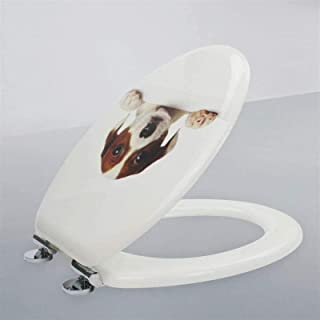 LYQQQQ Toiletbril Toiletdeksel met Ultra Resistente Top Vaste Verdikte V-Vorm Massief Houten Toiletstoel Cover Badkamer Fa...