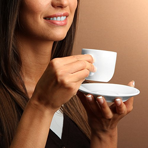 Espresso Cups with Saucers by Bruntmor - 4 ounce - White Ceramic - Set of 4