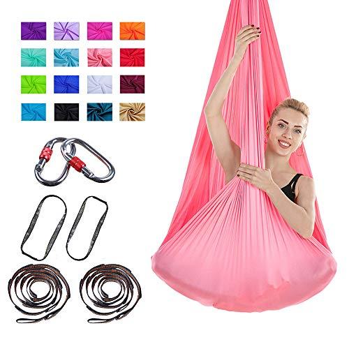 WNZL Yoga Swing Yoga aérea Hamaca Premium Tela acrobática 4.5x3 Yardas Antigravity Yoga Trapecio, Pilates Inversion, Swing sensorial con mosquetón, cadenita Uso en Interiores,Rosado