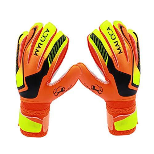 PROKTH Guantes de Portero de Futbol para niños y Adolescentes - Protege Tus Dedos, Palmas y muñecas - Antideslizante - Naranja - 5# - 1 par