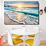 KWzEQ Leinwanddrucke Strand Wellen Landschaft Wandkunst dekorative Bild Wohnkultur Wohnzimmer Sofa Wanddekoration70x105cmRahmenlose Malerei