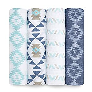 crib bedding and baby bedding aden + anais swaddle blanket, boutique muslin blankets for girls & boys, baby receiving swaddles, ideal newborn & infant swaddling set, perfect shower gifts, 4 pack, southwest chambray