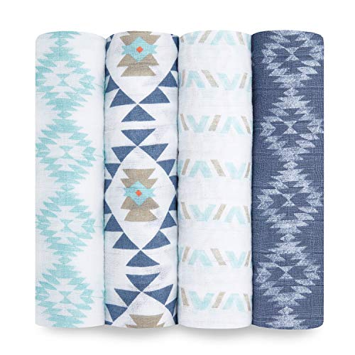 aden + anais Swaddle Blanket, Boutique Muslin Blankets for Girls & Boys, Baby Receiving Swaddles, Ideal Newborn & Infant Swaddling Set, Perfect Shower Gifts, 4 Pack, Southwest Chambray