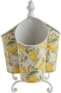 Creative Co-op Rotating With Three Compartments Lemon Trees 6 x 9 Metal Utensil Caddy Multicolor