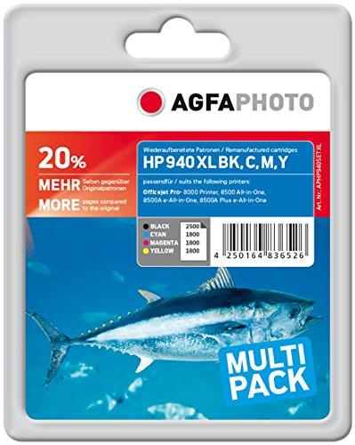AgfaPhoto APHP940SETXL passend für HP OJ8000, 1 x 64 ml schwarz, 3 x 24 ml cyan/magenta/gelb