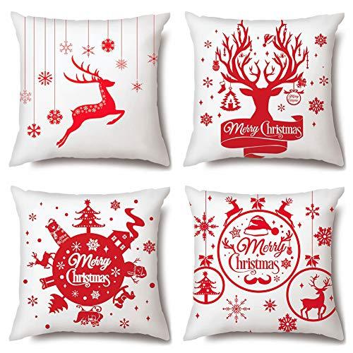 JOTOM Juego de 4 fundas de cojín decorativas de Navidad supersuaves para decorar el sofá, el dormitorio, 45 x 45 cm, diseño de alce rojo