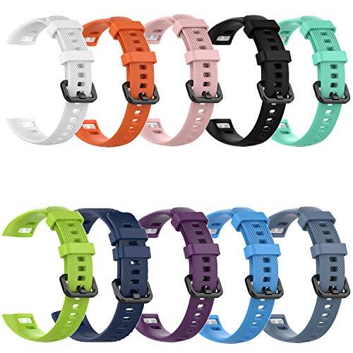 SUNG-LL 10 piezas Huawei Band 3 Pro / 4 Pro Correa de reloj de pulsera de silicona impermeable de repuesto