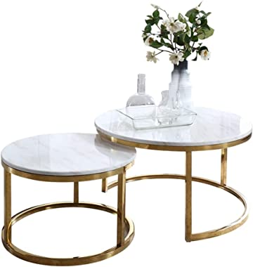 Marble Coffee Tables/End Tables Nesting Coffees Side Table Modern Sofa Tea Table for Living Room Furniture Stackable Snack Table or Cocktail Table
