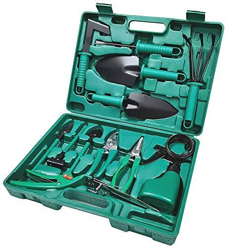 TOORGGOO Gartenwerkzeug-Set, Karbonstahl, Gartengeräte-Set mit Aufbewahrungskoffer, 14-teiliges Garten-Set, Gartenarbeit für Damen & Herren & Gärtner