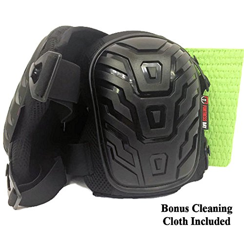 Best Work Knee Pads- Heavy Duty Set, Black Padded Shell, Comfortable Gel Cushion, Adjustable Clips, Flexible Straps for Adult Men & Women for Construction, Gardening, Bathroom & Bonus Cleaning Sponge