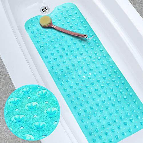 XIYUNTE Alfombrillas de baño 40×100cm Largo Antideslizante Alfombrillas para Ducha de Goma, Resistente al Moho Infantiles Alfombrillas para bañera con Ventosa, Anti Bacterialm, Lavable en la Lavadora