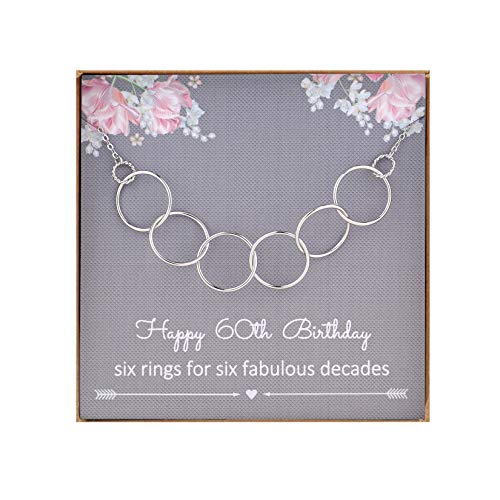 NOURISHLOV 60th Birthday Gift for Women,Sterling Silver 6 Circle Necklace for Her Six Decade...
