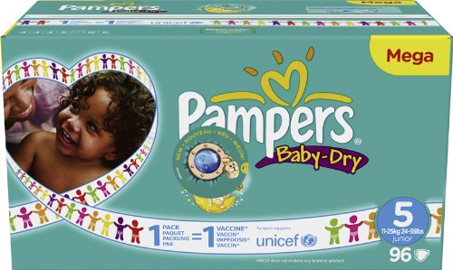 Pampers - 81322266 - Baby Dry Couches - Taille 5 Junior (11-25 kg) Unisexe - Megapack x96 Couches