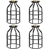 Simple Deluxe HILAMPCAGEX4 4-Pack Adjustable Industrial Clamp on Metal Bulb Guard Cage for Pendant Farmhouse Light Fixture, Vintage Shades and Hanging Lamp, Black