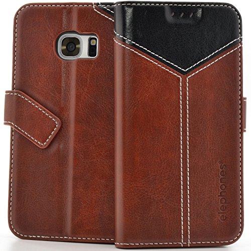 elephones® Handyhülle für Samsung Galaxy S7 Edge Hülle - Kompatibel mit Galaxy S7 Edge Schutzhülle Handy-Tasche Flip Case Cover Braun