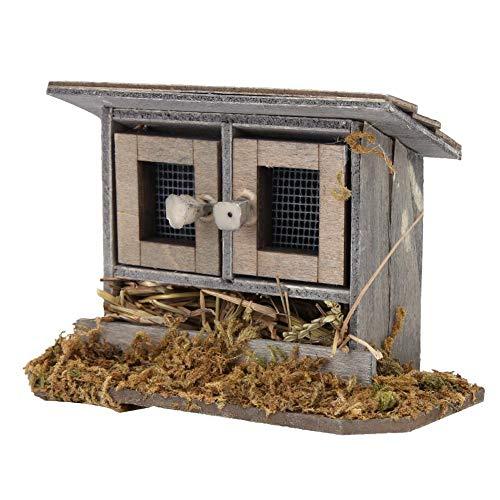 Zerodis 1/12 Garten Miniatur Hühnerstall für Puppenhaus Zubehör Puppen Spielset Holzfiguren Set Kinderzimmer Dekoration