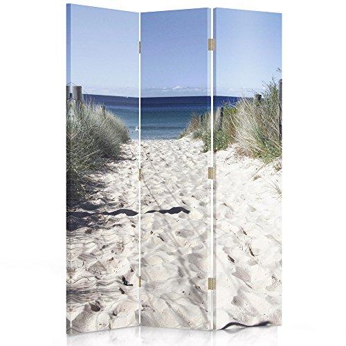 Feeby Frames. Die gedruckten auf Canvas Leinwand Wandschirme, dekorative Trennwand, Paravent einseitig, 3 teilig (110x150 cm), Strand, Meer, WEIß, BLAU