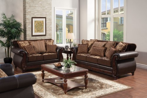 Furniture of America Esmeralda 2-Piece Fabric and Leatherette Sofa Set, Dark Brown Finish