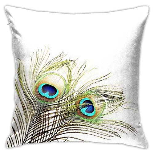 N/Q 45X45cm Throw Pillowcase,Peacock Feather Decoration Square Outdoor Pillowcase Sofa Cover Decorative Cushion Cover, Soft, Used for Car Bed Living Room
