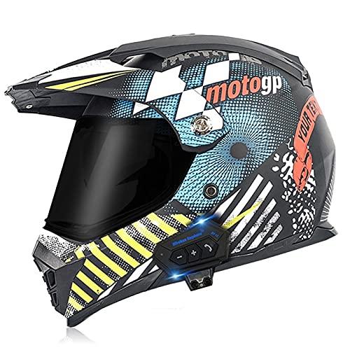 Bluetooth Casco de Motocross Adultos Casco de Cross Casco Moto Integral para MX Dirt Bike ATV Quad Enduro Downhill DH Off Road Scooter (Color : G, Size : L(59-60CM))
