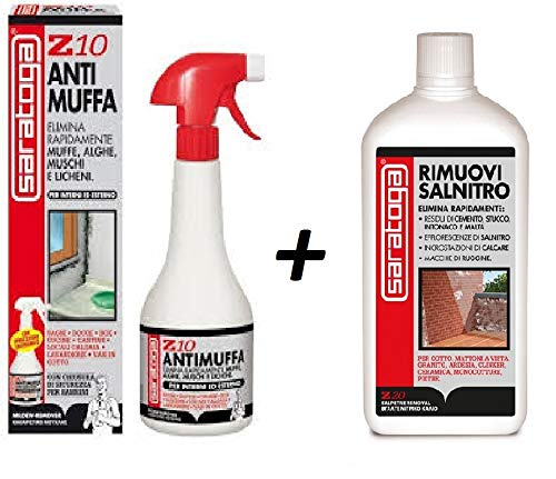 ANTIMUFFA Kit Composto da ANTIMUFFA SPRAY Z10 1000ml e RIMUOVI SALNITRO Z20 1000ml